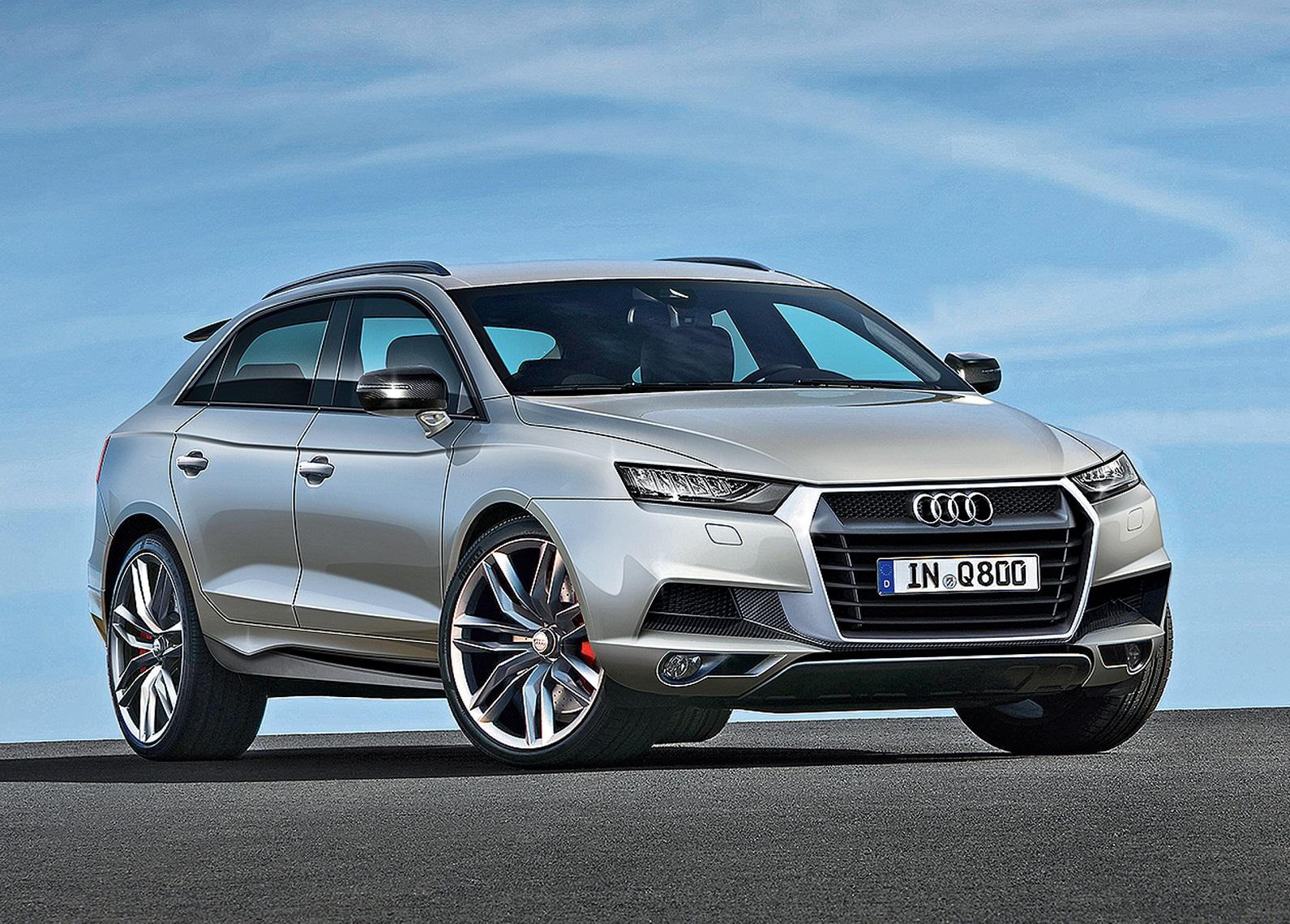 Новый внедорожгник Audi Q7 на фоне неба
